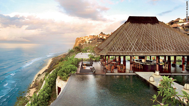 The Bulgari Resort and Spa in Bali overlooks the Indian Ocean.