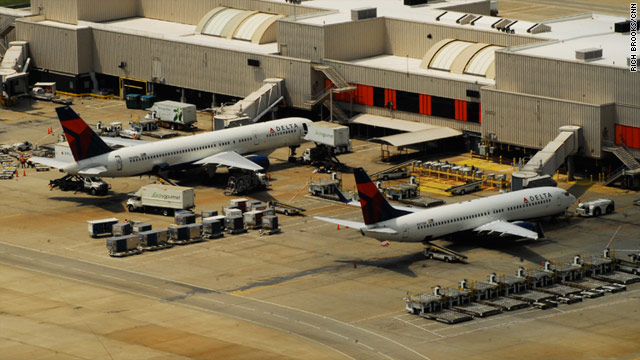 Planes get ready for passengers at Hartsfield Jackson International Airport in Atlanta, Georgia.