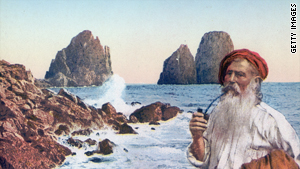 An illustration circa 1850 shows an elderly fisherman on the island of Capri, the fabled home of the deadly Sirens.