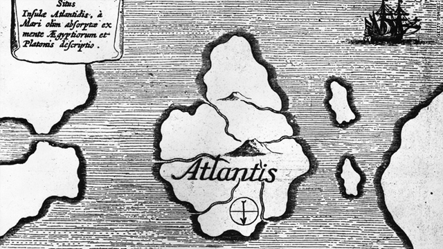 An illustration from an old book circa 1600 published in Germany showing a map of the mythical island of Atlantis.