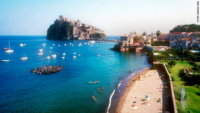 Ischia, a volcanic island located in the Bay of Naples, is known for its therapeutic hot springs.
