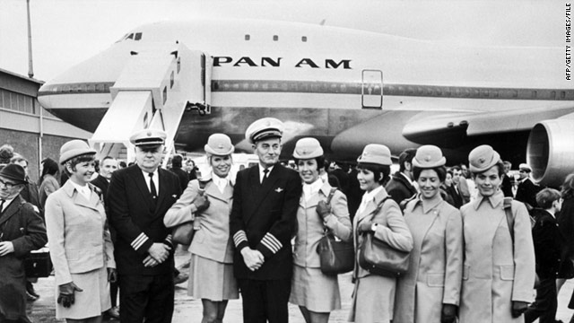 The Pan Am crew of the first commercial flight of the Boeing 747 from New York to London poses for photos in January 1970.