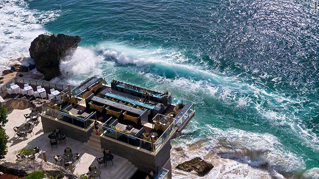 Ayana Resort & Spa's Rock Bar is perched just 46 feet above the Indian Ocean and offers a spectacular martini on the rocks.