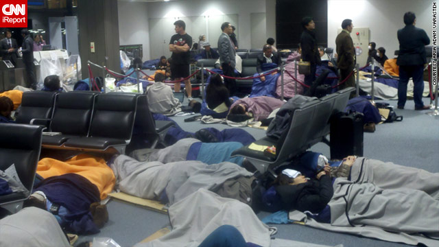 Thousands of travelers were stranded at Tokyo's Narita International Airport on Friday when airlines canceled flights.