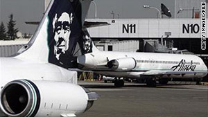 Alaska Airlines jets on the tarmac at Seattle-Tacoma International Airport in a file photo.