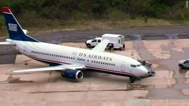 This US Airways 737 was grounded in Charlotte, North Carolina, after a small hole was found in its fuselage.