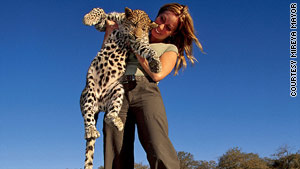 Mireya Mayor says this young leopard adopted by a vet in Namibia was like a big house cat.