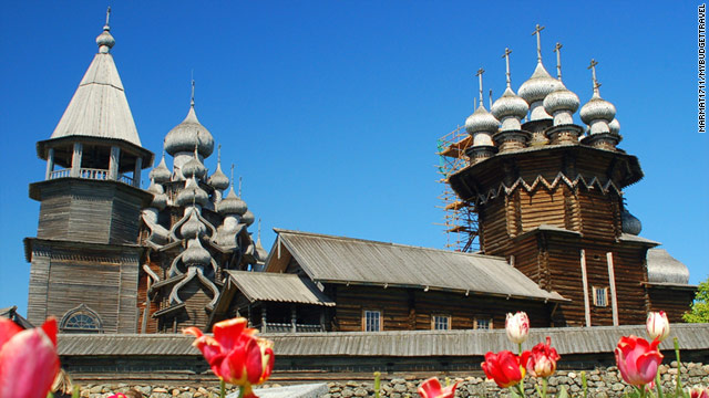 Kizhi Island in northern Russia is an open-air museum with a cluster of churches at its southern tip.