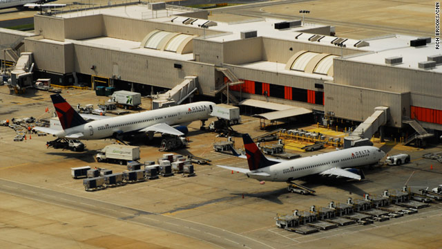 Delta planes are parked at Hartsfield-Jackson Atlanta International Airport. The airline hasn't identified the plane with the problem.