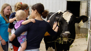 Visitors to Hansen's Farm Fresh Dairy in Hudson, Iowa, can see animals during a hands-on tour.