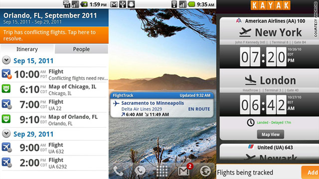 Smartphone apps like TripIt, FlightTrack Pro and Kayak (left to right) make air travel a little less stressful.