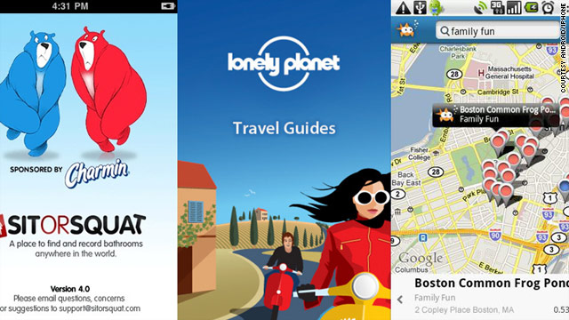 SitOrSquat, Lonely Planet's City Guides and Goby apps (left to right) are helpful to travelers ready to explore.