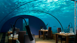 Ithaa Undersea Restaurant sits 16 feet under the Indian Ocean.