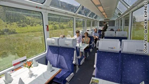 Glass roofed carriages enable Glacier Express passengers to view breathtaking mountains.