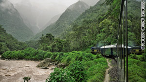 The Hiram Bingham ascends through the Andes mountains.