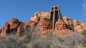 A view of Chapel of the Holy Cross in Sedona.