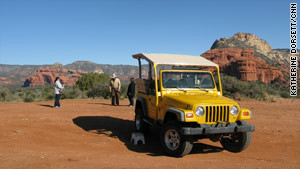 A variety of tour operators offer Jeep rides near Sedona's Red Rock formations.