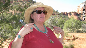 Jocelyn Buckner offers vortex tours and readings. She carries a tuning fork to align chakras.