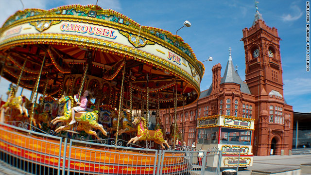 A fish-eye lens can take the  Carousel at Mermaid Quay in Cardiff, Wales and turn it into a dynamic shot.