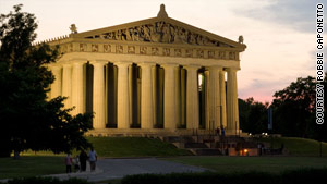 Located in Centennial Park, the Parthenon houses an art museum and is an exact replica of the Parthenon in Greece.