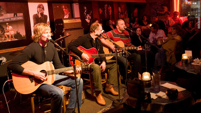 Famous singers and songwriters play at the Bluebird Cafe in Nashville.
