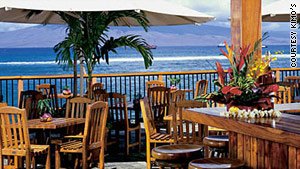 Sunsets over the water are part of the experience at Kimo's, Lahaina Town on Maui.