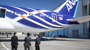 A view of the tail section of the new Boeing 787 shows the paint job used by All Nippon Airways.