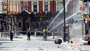Rioters damaged this London neighborhood.