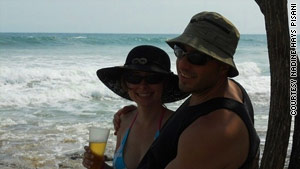 The couple enjoys a sunny day on Avellanas Beach.