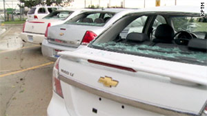 The Omaha airport was closed Thursday after violent storms brought high winds and massive hail, officials said.