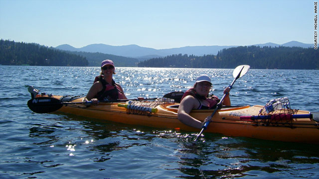 Michell Haase and her daughter, Kelsey, kayak in Lake Coeur d'Alene in the Idaho Panhandle in July 2008.