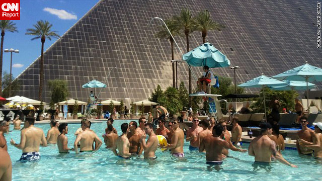 The Luxor Hotel on the Las Vegas strip has been hosting weekly gay-themed pool parties.