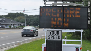 A sign in Narragansett, Rhode Island, warns passing motorists about the approach of Hurricane Irene.