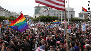 Proposition 8 opponents celebrate a ruling to overturn the law on August 4, 2010, in San Fransisco, California.