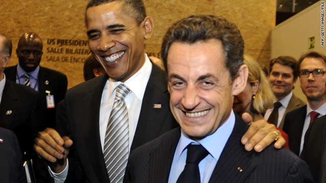 U.S. President Barack Obama (L) and French President Nicolas Sarkozy at the NATO-Russian Council on November 20, 2010.
