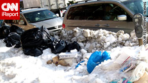 Snow and trash piled up for days after the Christmas weekend snowstorm in New York.