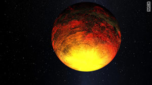 An artist's depiction of Kepler-10b, which NASA says is too close to its star to maintain liquid water and potential life.