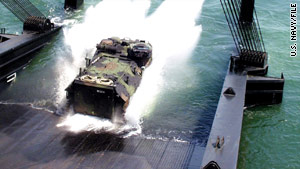 The training involved an amphibious assault vehicle similar to the one pictured.