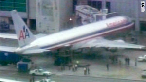 The suspicious item was found as cargo was being unloaded from the plane in Miami on Monday.