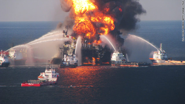 Fireboats battle the blaze after the Deepwater Horizon rig exploded in the Gulf of Mexico on April 20.