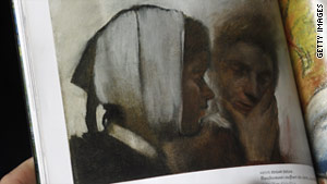 "Edgar Degas' painting, ""Blanchisseuses souffrant des dent,"" was taken from a French museum in 1973."