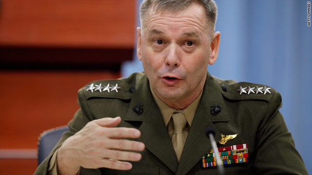 "Marine Gen. James Cartwright said that the U.S. and Egyptian military need to ""exercise restraint."""
