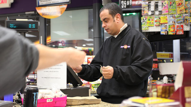 George Khalil, 35, who left Egypt in 2008, works at an Atlanta convenience store. He has had trouble reaching family back home.