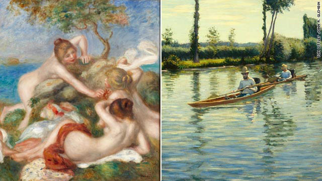 Bathers With Crab, c. 1890-1899, Pierre Auguste Renoir; Boating on the Yerres, 1877, Gustave Caillebotte