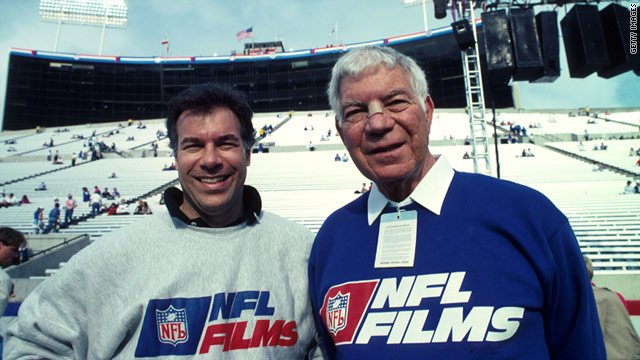 Steve and Ed Sabol, the father and son team who created the legendary NFL Films, before the 1991 Super Bowl.
