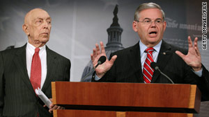 Sens.  Frank Lautenberg, left, and Robert Menendez say Amtrak will help fund some of the Gateway Tunnel project.