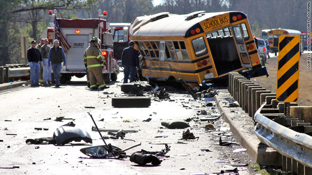 Three people were killed near Calhoun City, Mississippi. A tractor-trailer clipped one school bus, then hit another head-on.
