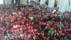 Hundreds of people packed Ohio's capitol to protest Senate Bill 5 on Thursday.