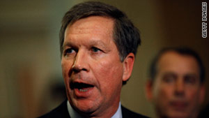 "John Kasich says he wants to ensure ""that management has some power and some tools to create to control their costs."""