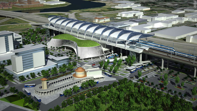 An artist's rendering of part of the proposed plan to link Orlando and Tampa, Florida, by high-speed rail.